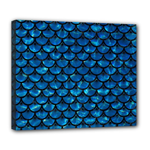 Scales3 Black Marble & Deep Blue Water (r) Deluxe Canvas 24  X 20   by trendistuff