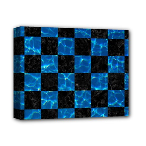 Square1 Black Marble & Deep Blue Water Deluxe Canvas 14  X 11  by trendistuff