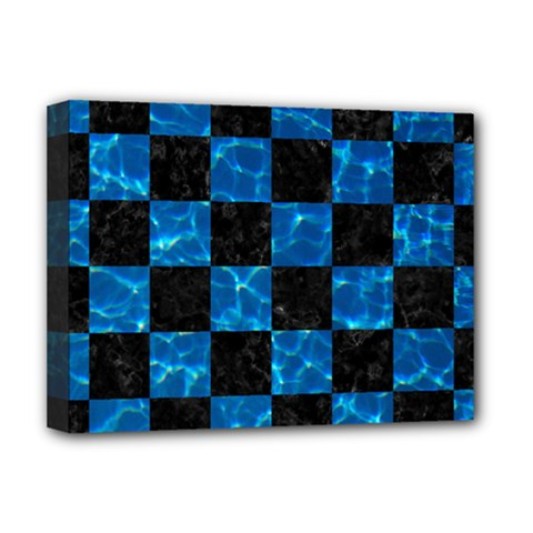 Square1 Black Marble & Deep Blue Water Deluxe Canvas 16  X 12   by trendistuff
