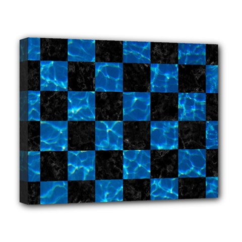 Square1 Black Marble & Deep Blue Water Deluxe Canvas 20  X 16   by trendistuff