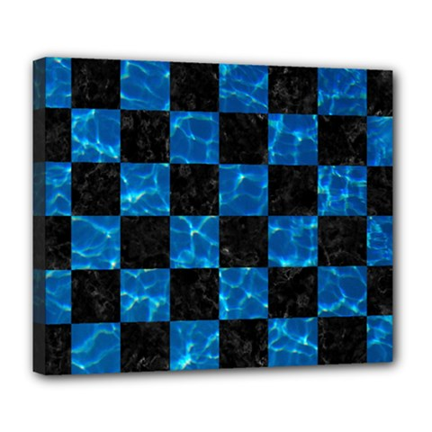 Square1 Black Marble & Deep Blue Water Deluxe Canvas 24  X 20   by trendistuff
