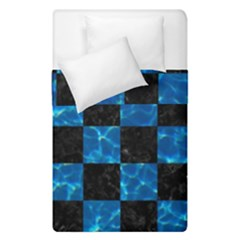 Square1 Black Marble & Deep Blue Water Duvet Cover Double Side (single Size) by trendistuff