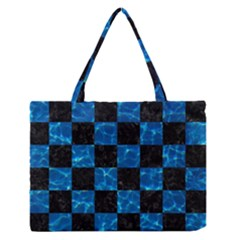 Square1 Black Marble & Deep Blue Water Zipper Medium Tote Bag by trendistuff