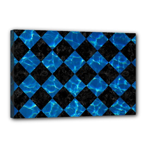 Square2 Black Marble & Deep Blue Water Canvas 18  X 12  by trendistuff