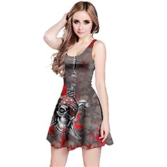 Dark Red Hanged Pirate Skulls Reversible Sleeveless Dress