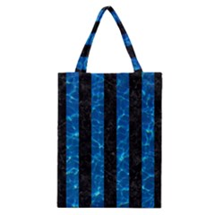 Stripes1 Black Marble & Deep Blue Water Classic Tote Bag by trendistuff