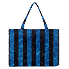 Stripes1 Black Marble & Deep Blue Water Zipper Medium Tote Bag by trendistuff