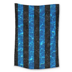 Stripes1 Black Marble & Deep Blue Water Large Tapestry by trendistuff