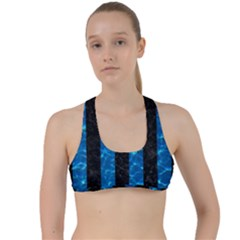 Stripes1 Black Marble & Deep Blue Water Criss Cross Racerback Sports Bra