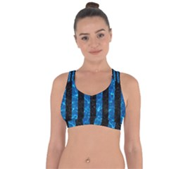 Stripes1 Black Marble & Deep Blue Water Cross String Back Sports Bra