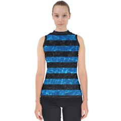 Stripes2 Black Marble & Deep Blue Water Shell Top
