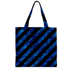 Stripes3 Black Marble & Deep Blue Water Zipper Grocery Tote Bag by trendistuff
