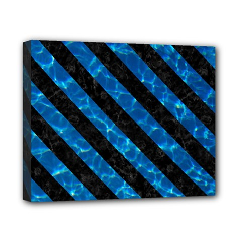Stripes3 Black Marble & Deep Blue Water (r) Canvas 10  X 8  by trendistuff