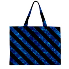Stripes3 Black Marble & Deep Blue Water (r) Zipper Mini Tote Bag by trendistuff