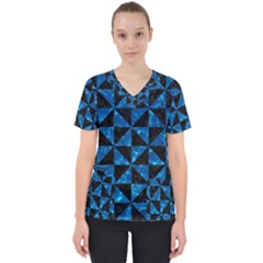 Triangle1 Black Marble & Deep Blue Water Scrub Top