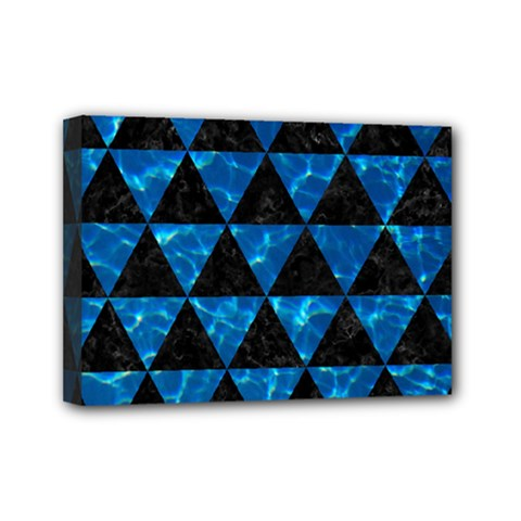 Triangle3 Black Marble & Deep Blue Water Mini Canvas 7  X 5  by trendistuff