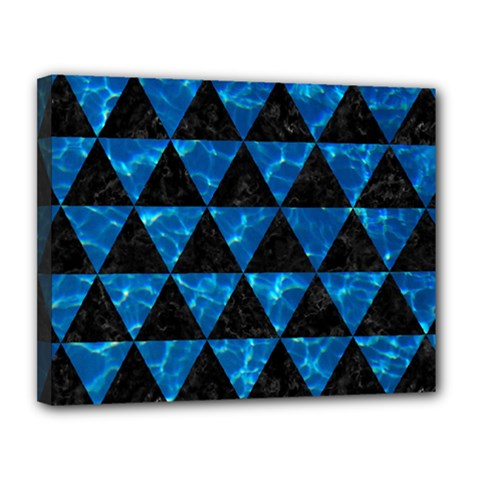 Triangle3 Black Marble & Deep Blue Water Canvas 14  X 11  by trendistuff