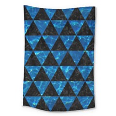Triangle3 Black Marble & Deep Blue Water Large Tapestry by trendistuff