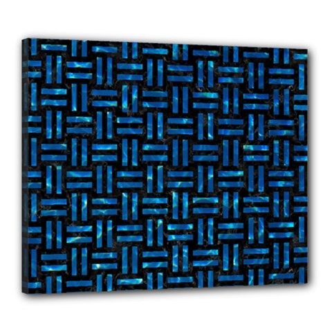 Woven1 Black Marble & Deep Blue Water Canvas 24  X 20  by trendistuff
