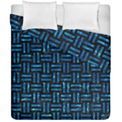 Woven1 Black Marble & Deep Blue Water Duvet Cover Double Side (california King Size) by trendistuff