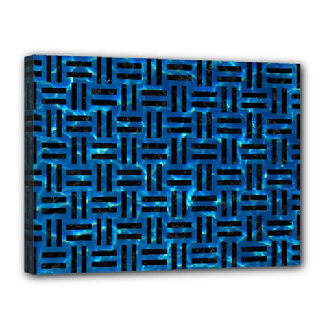 Woven1 Black Marble & Deep Blue Water (r) Canvas 16  X 12  by trendistuff