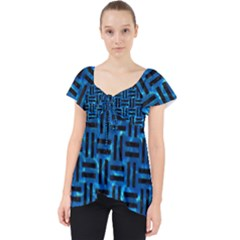 Woven1 Black Marble & Deep Blue Water (r) Lace Front Dolly Top