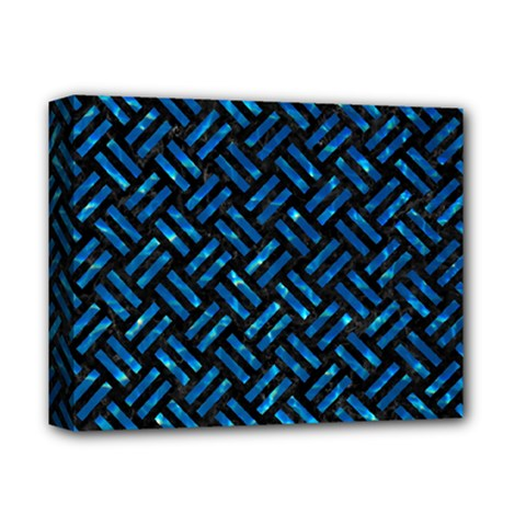 Woven2 Black Marble & Deep Blue Water Deluxe Canvas 14  X 11  by trendistuff