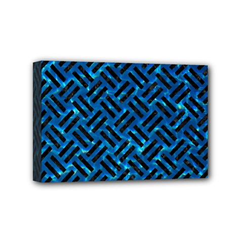 Woven2 Black Marble & Deep Blue Water (r) Mini Canvas 6  X 4  by trendistuff