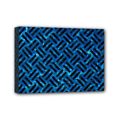 Woven2 Black Marble & Deep Blue Water (r) Mini Canvas 7  X 5  by trendistuff