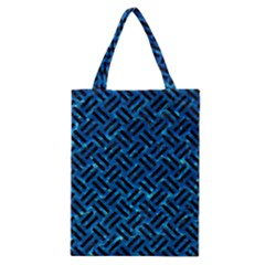 Woven2 Black Marble & Deep Blue Water (r) Classic Tote Bag by trendistuff