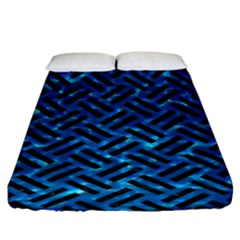 Woven2 Black Marble & Deep Blue Water (r) Fitted Sheet (king Size) by trendistuff