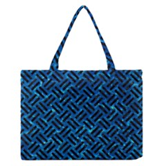 Woven2 Black Marble & Deep Blue Water (r) Zipper Medium Tote Bag by trendistuff