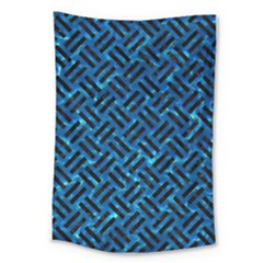 Woven2 Black Marble & Deep Blue Water (r) Large Tapestry by trendistuff