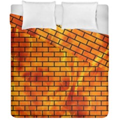 Brick1 Black Marble & Fire (r) Duvet Cover Double Side (california King Size) by trendistuff
