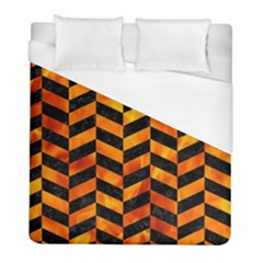 Chevron1 Black Marble & Fire Duvet Cover (full/ Double Size) by trendistuff