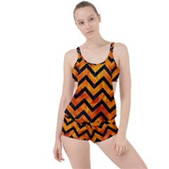 Chevron9 Black Marble & Fire (r) Boyleg Tankini Set