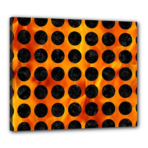 Circles1 Black Marble & Fire (r) Canvas 24  X 20  by trendistuff