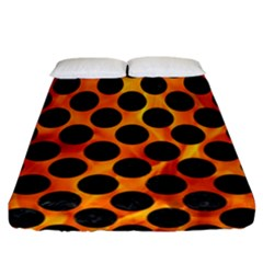 Circles2 Black Marble & Fire (r) Fitted Sheet (california King Size) by trendistuff