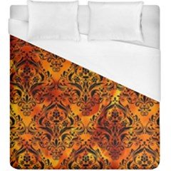 Damask1 Black Marble & Fire (r) Duvet Cover (king Size) by trendistuff