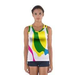 Anatomicalrainbow Wave Chevron Pink Blue Yellow Green Sport Tank Top  by Mariart
