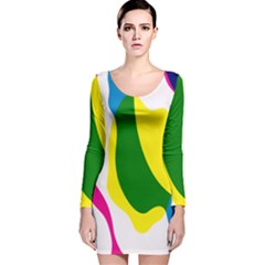 Anatomicalrainbow Wave Chevron Pink Blue Yellow Green Long Sleeve Velvet Bodycon Dress by Mariart
