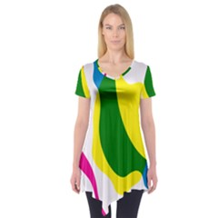 Anatomicalrainbow Wave Chevron Pink Blue Yellow Green Short Sleeve Tunic  by Mariart