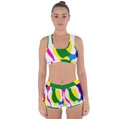 Anatomicalrainbow Wave Chevron Pink Blue Yellow Green Racerback Boyleg Bikini Set