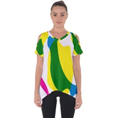 Anatomicalrainbow Wave Chevron Pink Blue Yellow Green Cut Out Side Drop Tee
