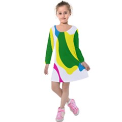 Anatomicalrainbow Wave Chevron Pink Blue Yellow Green Kids  Long Sleeve Velvet Dress by Mariart