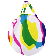 Anatomicalrainbow Wave Chevron Pink Blue Yellow Green Giant Round Zipper Tote