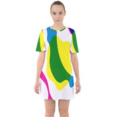Anatomicalrainbow Wave Chevron Pink Blue Yellow Green Sixties Short Sleeve Mini Dress