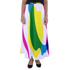 Anatomicalrainbow Wave Chevron Pink Blue Yellow Green Flared Maxi Skirt by Mariart