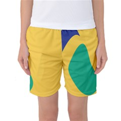 Yellow Green Blue Women s Basketball Shorts by Mariart