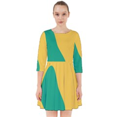 Yellow Green Blue Smock Dress